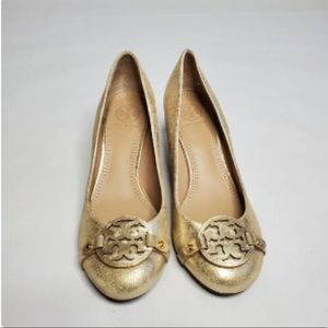 Tory Burch Mini Miller Gold Round Toe Wedge Pumps